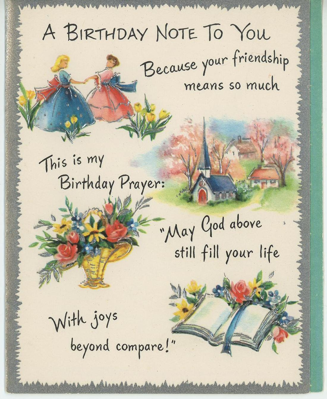 Details About VINTAGE VICTORIAN GIRLS FRIENDS CHURCH GARDEN FLOWERS BIBLE BIRTHDAY CARD PRINT